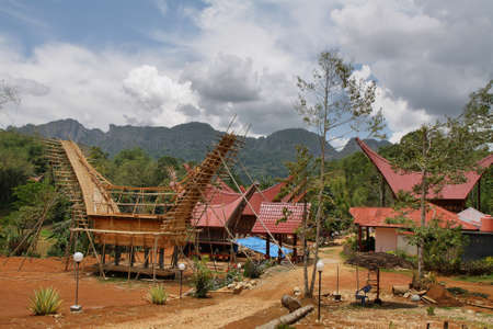 sulawesi: Traditional houses in Toraja Province, Sulawesi Stock Photo