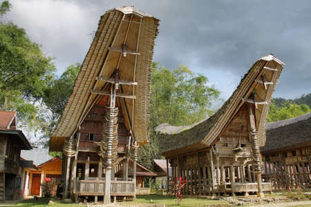 Toraja traditional village housing in Indonesia, Sulawesi photo