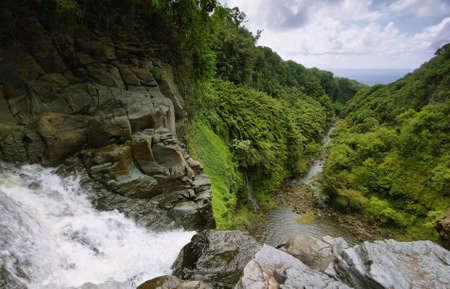 View from the edge of Makahiku falls in Waimoku falls trail, Maui island, Hawaii photo