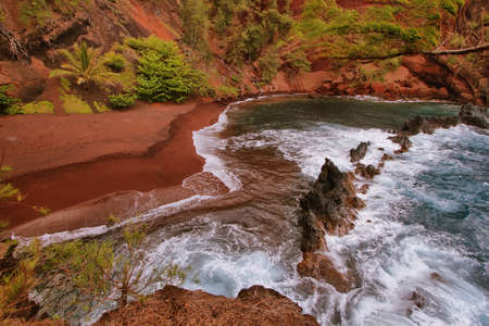 Kaihalulu red sand beach in east Maui island, Hawaii