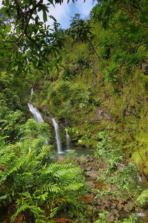 Three Bear Falls or Upper Waikani Falls on the Road to Hana, Maui, Hawaii photo