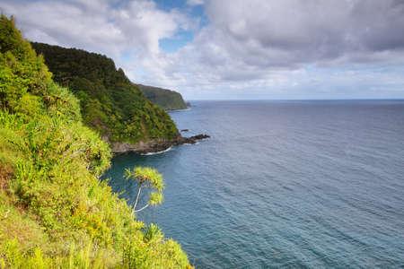 Ocean views and cliffs from Hana highway, Maui island, Hawaii, USA photo