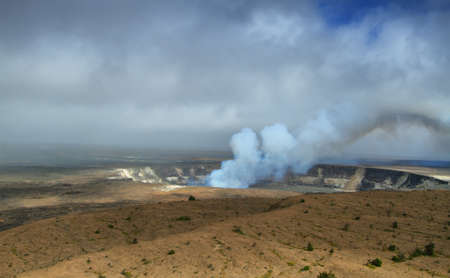 vulcanology: Panoramic view of active Kilauea volcano crater, Hawaii Volcanoes National Park, Big Island Stock Photo