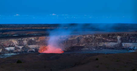 Panoramic view of active Kilauea volcano crater at night, Hawaii Volcanoes National Park, Big Island
