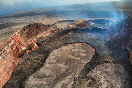 kilauea: Aerial view of lava lake of Puu Oo crater of Kilauea volcano in Big island, Hawaii