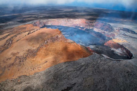 Aerial view of lava lake of Puu Oo crater of Kilauea volcano in Big island, Hawaii photo