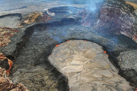 vulcanology: Aerial view of lava lake of Puu Oo crater of Kilauea volcano in Big island, Hawaii