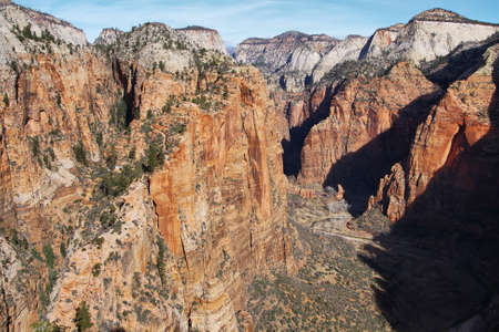 View from top of Angels Landing trail, Zion National Park, Utah photo