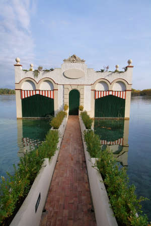 pla: View of old bathhouse in Lake of Banyoles, Catalonia, Spain