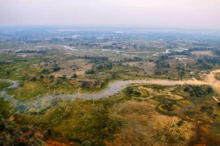 Okavango delta del aire al atardecer Foto de archivo - 27099403