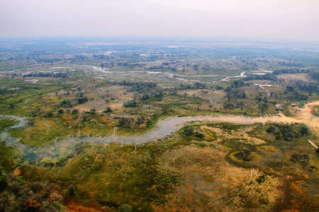 Okavango delta from the air at sunset