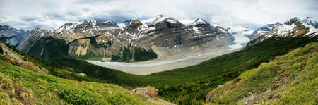 Panoramic view of Saskatchewan glacier and mountain range in the Canadian Rockies photo