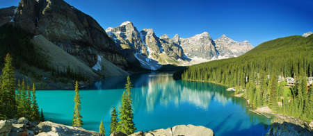 See-Moraine Panorama, Banff Nationalpark Standard-Bild - 27306081