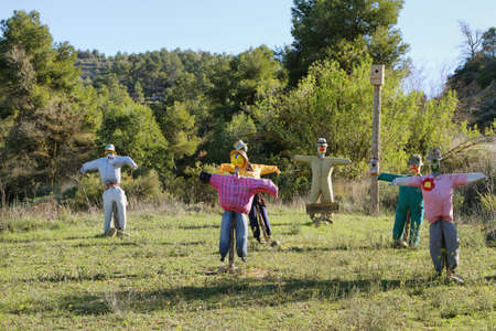 Scarecrows in the fields of Tarragona, Spain