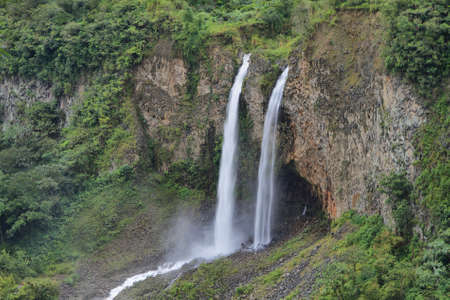 Manto de la novia (bridal veil) waterfall in Cascades route near Banos, Ecuador photo