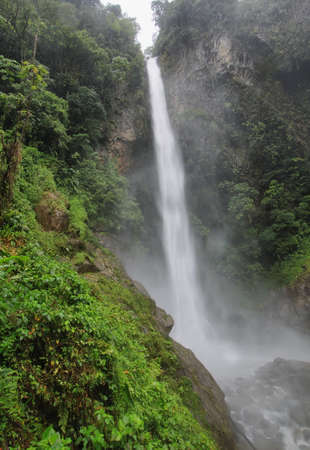 Machay waterfall (known aswell as El Rocio waterfall) in route from Banos to Puyo, Ecuador photo
