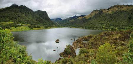 Panoramic view of Papallacta lake in Papallacta Pass from Baeza to Quito, Ecuador photo