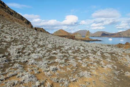 pinnacle: Paesaggio di Pinnacle Rock e dintorni nell'isola di Bartolome, Galapagos, Ecuador
