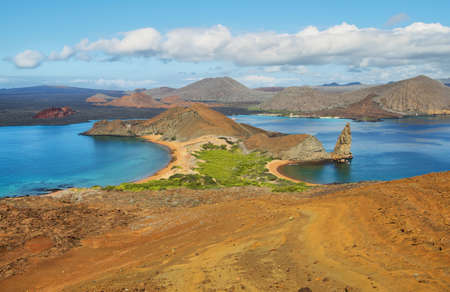 Amazing landscape of pinnacle Rock and surroundings in Bartolome island, Galapagos, Ecuador