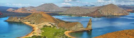 bartolome: Panoramic view of pinnacle Rock and surroundings in Bartolome island, Galapagos, Ecuador