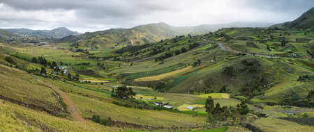 andean: Panoramic view of mountains and meadows in the andean moorland near Zumbahua village, Ecuador Stock Photo