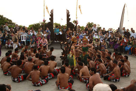 ceremonial: BALI, INDONESIA - SETEMBER 28: Traditional Balinese Kecak dance at Uluwatu Temple on Setember 28, 2009, Bali, Indonesia Editorial
