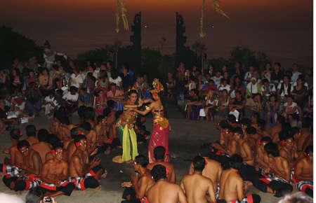 kecak: BALI, INDONESIA - SETEMBER 28: Traditional Balinese Kecak dance at Uluwatu Temple on Setember 28, 2009, Bali, Indonesia Editorial