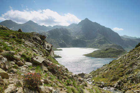 Glacial lakes in Aiguestortes national park, Spain photo
