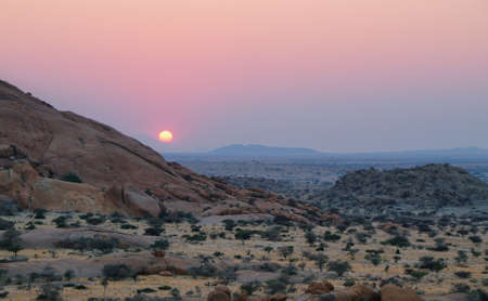 spitzkoppe: Colorful rocky landscape at sunset in Spitzkoppe, Namibia