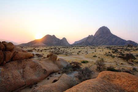 spitzkoppe: Colorful rocky landscape at sunrise in Spitzkoppe, Namibia Stock Photo