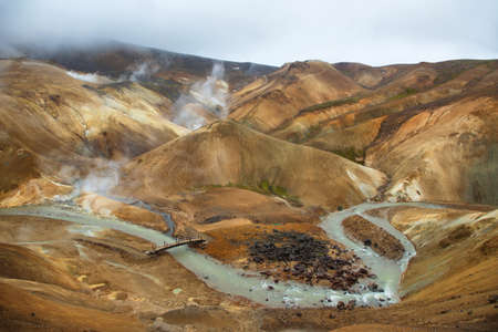 mud and snow: Surreal landscape of Kerlingarfjoll, Iceland, land of ice and fire. Stock Photo