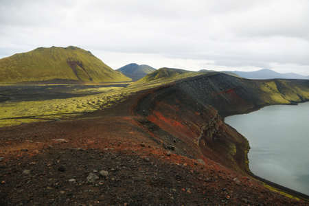 crater highlands: Ljotipollur volcanic crater lake in Iceland Stock Photo