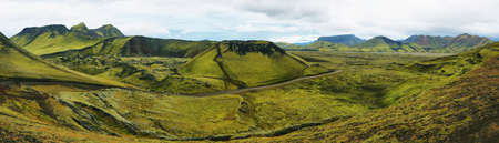 crater highlands: Majestic volcanic landscape covered with moss in Iceland highlands