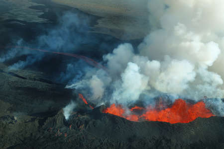 vulcanology: Aerial view of 2014 Bardarbunga volcano eruption in Iceland Stock Photo