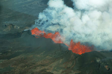 Aerial view of 2014 Bardarbunga volcano eruption in Iceland photo