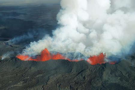Vista aérea de 2014 Bárðarbunga erupción del volcán en Islandia Foto de archivo - 32462938