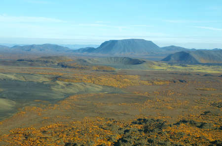 highland region: Aerial view of volcanic landscape with fall colors in Iceland Highland region Stock Photo