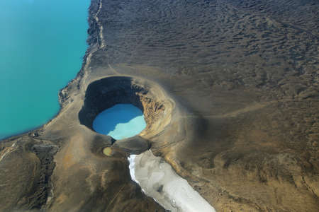 Aerial view of lake Lake Oskjuvatn and lake Viti in Askja region, Iceland