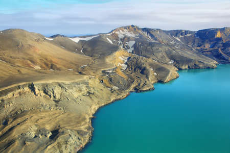 highland region: Aerial view of lake Lake Oskjuvatn and mountains in Iceland Highland region