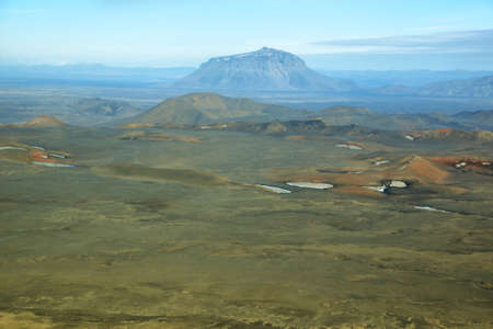 highland region: Aerial view of Herdubreid famous mountain in Iceland Highland region