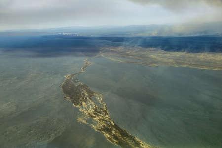 crater highlands: Vista a�rea del paisaje volc�nico en la regi�n de Islandia Highland Foto de archivo