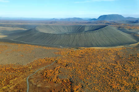 highland region: Aerial view of Hverfjall crater and fall colors in Iceland Highland region Stock Photo