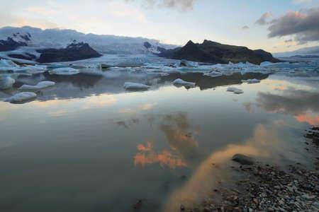 fjallsarlon: Fjallsarlon at sunset, glacier iceberg lagoon in Vatnajokull National Park, Iceland