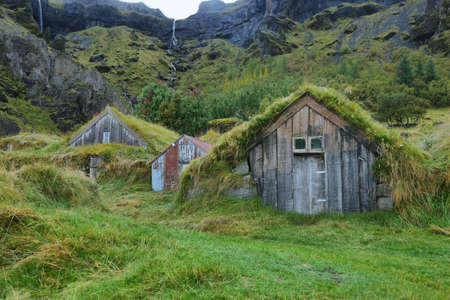Wooden houses of Nupstadur with grass on the roof in iceland