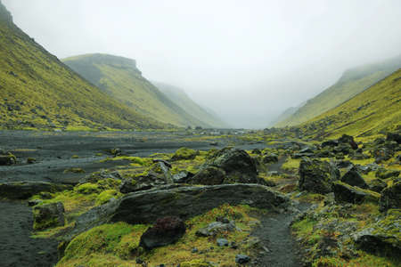 Eldgja canyon in Iceland highlands Stock Photo