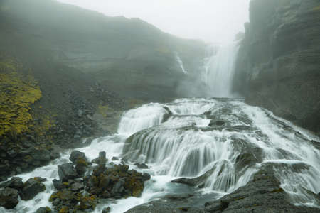 north cascade national park: Ofaerufoss waterfall in Eldgja canyon, Iceland highlands Stock Photo