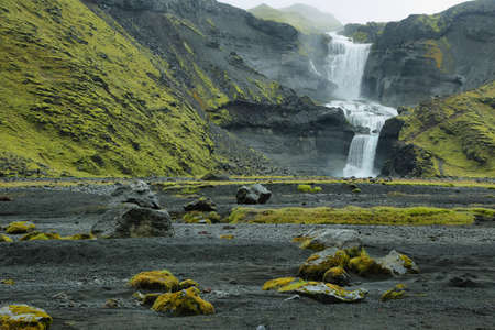 Ofaerufoss waterfall in Eldgja canyon, Iceland highlands Stock Photo