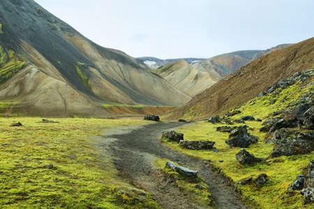 hollows: Multicolored rhyolite mountains of Landmannalaugar, Iceland