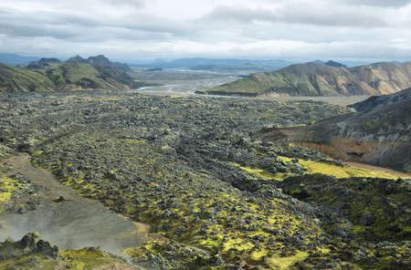 hollows: Volcanic landscape in Landmannalaugar, Iceland