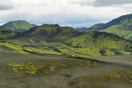 crater highlands: Paisaje volc�nico en Lakag�gar, tierras altas de Islandia